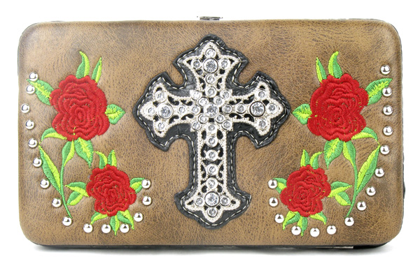 Western Rose Cross Brown Clutch Opera Wallet