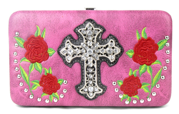 Western Rose Cross Pink Clutch Opera Wallet