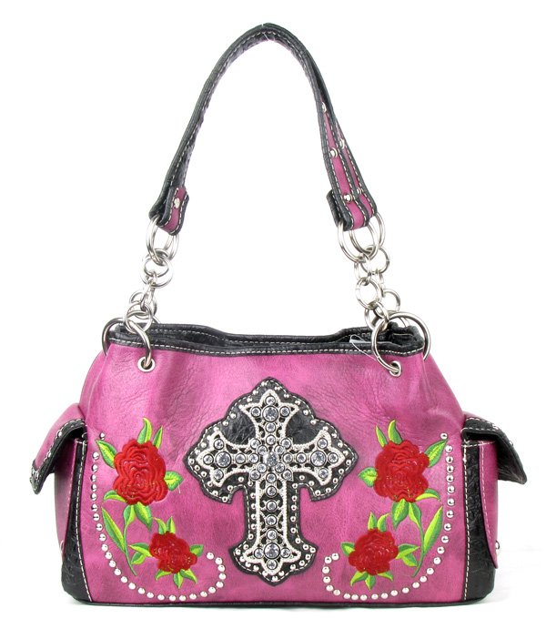 Western Rose Cross Pink Rhinestone Handbag