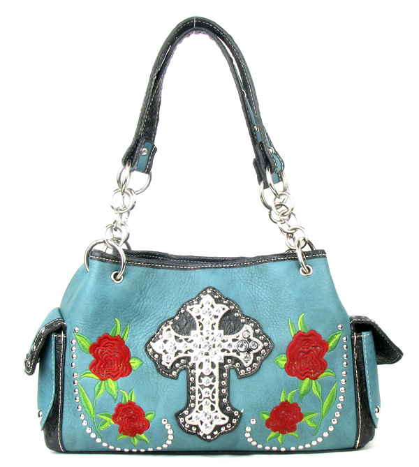 Western Rose Cross Green Rhinestone Handbag