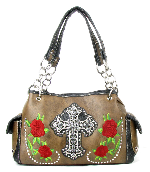 Western Rose Cross Brown Rhinestone Handbag
