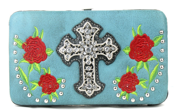 Western Rose Cross Green Clutch Opera Wallet