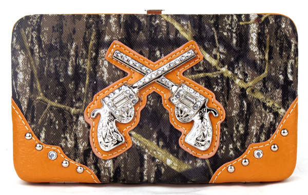 Western Pistol Gun Orange Camouflage Clutch Opera Wallet