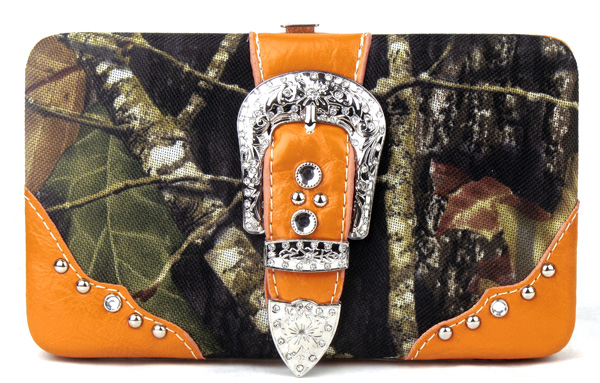 Western Orange Camouflage Buckle Clutch Opera Wallet