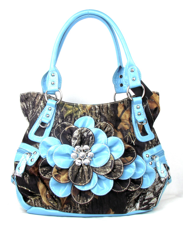 Western Blue Camouflage Flower Rhinestone  Fashion Handbag