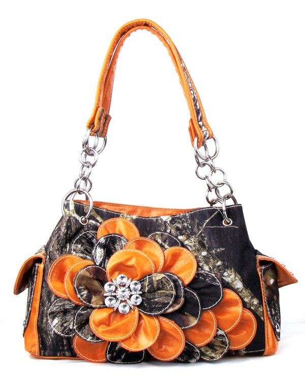 Western Orange Camouflage Flower Rhinestone Handbag