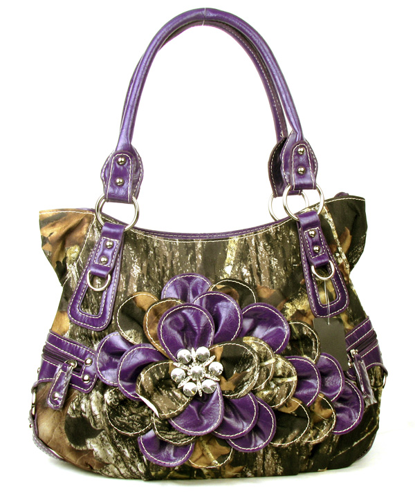 Western Purple Camouflage Flower Rhinestone  Fashion Handbag