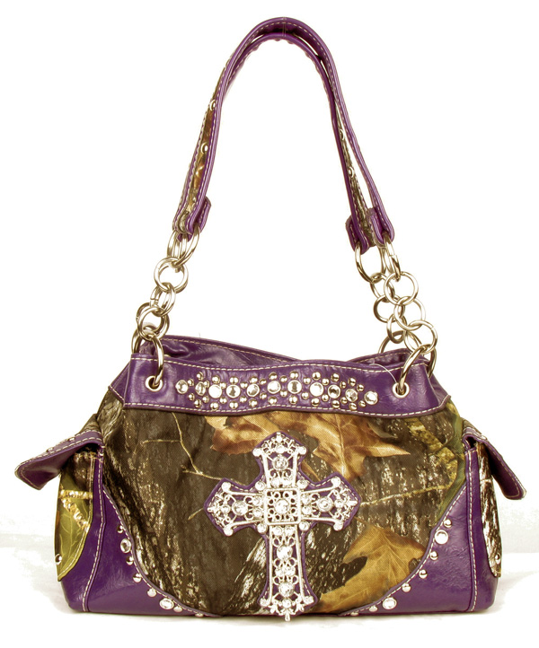 Western Purple Camouflage Cross Rhinestone Handbag