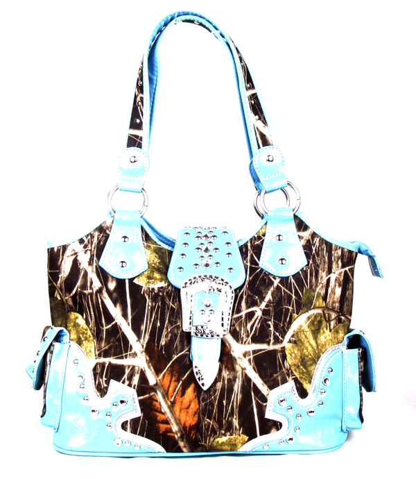 Western Soft Canvas Blue Camouflage Buckle Rhinestone  Handbag