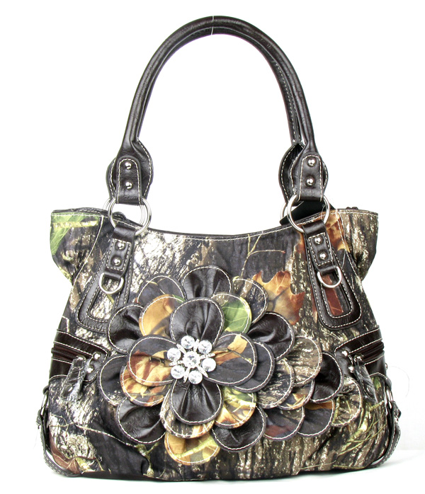 Western Coffee Camouflage Flower Rhinestone  Fashion Handbag
