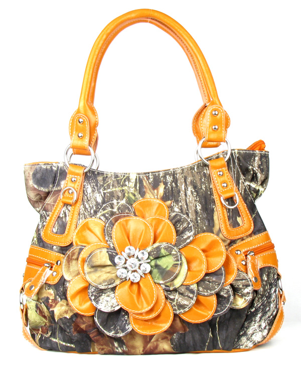 Western Orange Camouflage Flower Rhinestone  Fashion Handbag
