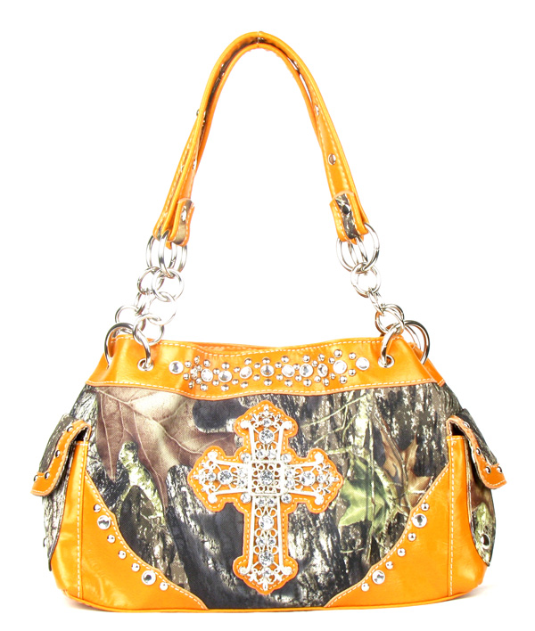 Western Orange Camouflage Cross Rhinestone Handbag