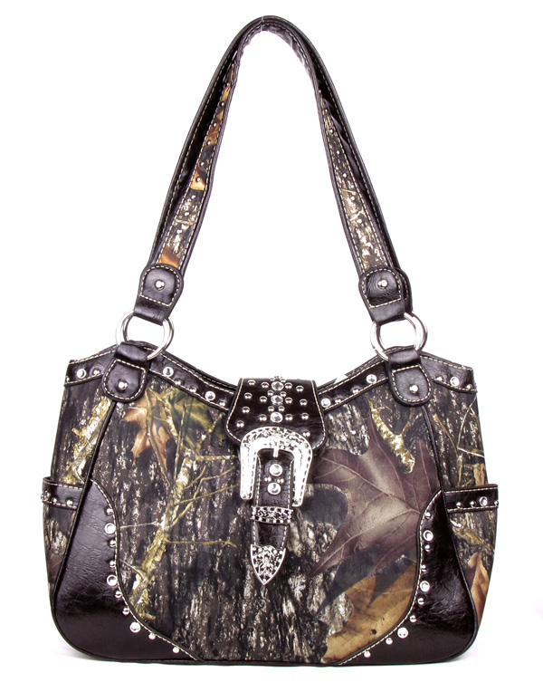 Western Large  Coffee Canvas Camouflage Buckle Rhinestone Fashio