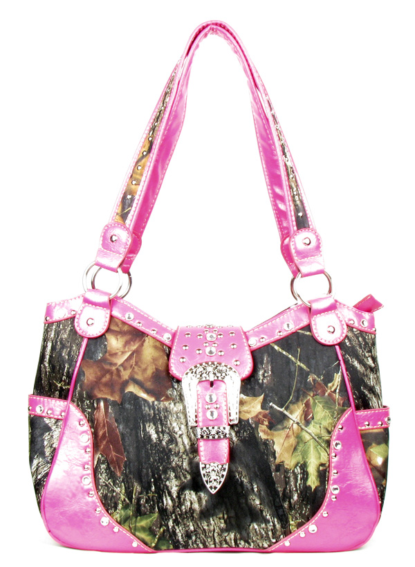 Western Large Pink Canvas Camouflage Buckle handbag