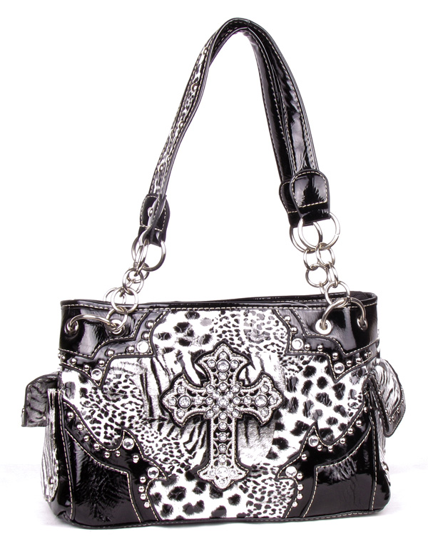 Western Leopard Cross Black Rhinestone Gun Pocket Handbag