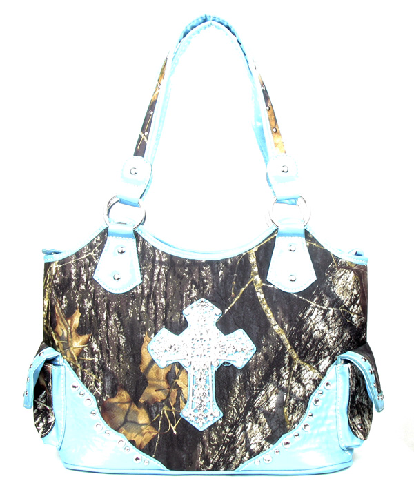 Western Large Canvas Blue Camouflage Cross Rhinestone  Fashion