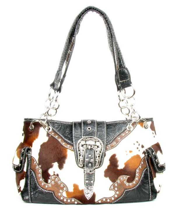 Western Black Tooled Leather Cow Print Buckle Handbag