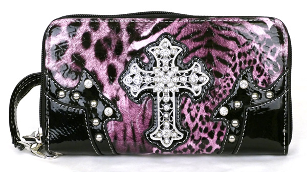 Western Zipper Purple Leopard Crosse Wallet