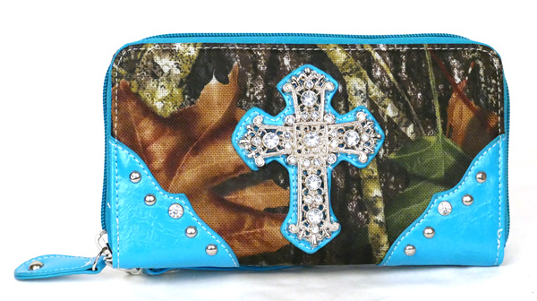 Western Zipper Blue Camouflage Cross  Wallet