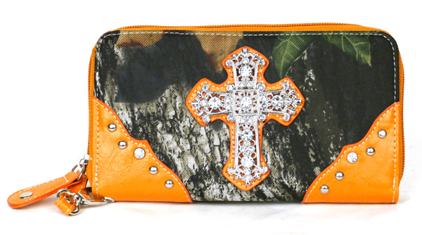 Western Zipper Orange Camouflage Cross  Wallet