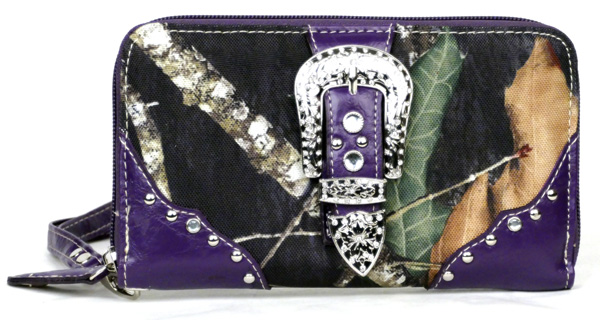 Western Zipper Purple Camouflage Buckle Wallet