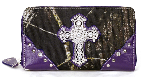 Western Zipper Purple Camouflage Cross  Wallet