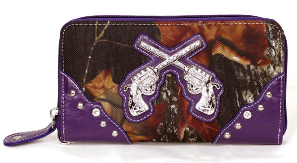 Western Zipper Purple Camouflage Guns Wallet