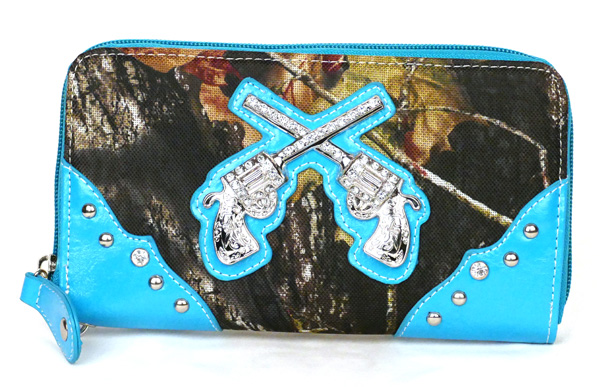 Western Zipper Blue Camouflage Guns Wallet