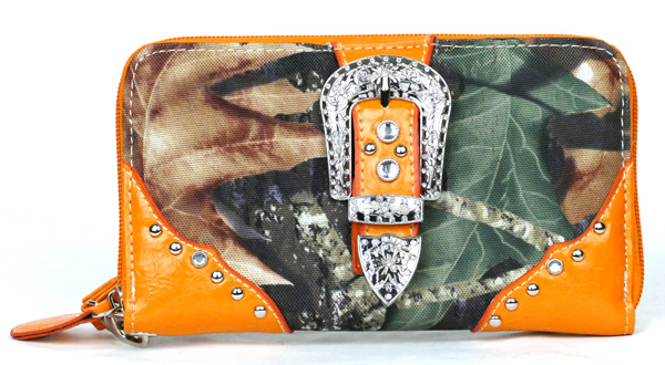 Western Zipper Orange Camouflage Buckle Wallet