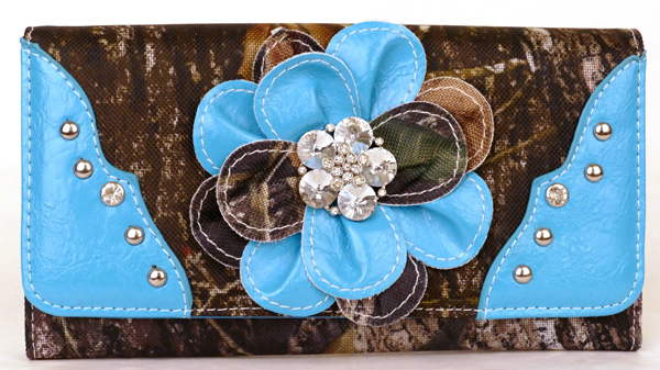 Western tri-folder Blue Camouflage Flower Wallet
