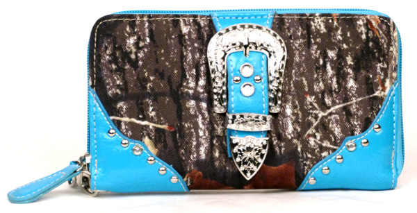 Western Zipper Blue Camouflage Buckle Wallet
