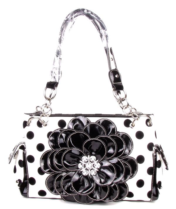 Black Polka Dot Rhinestone Flower Pocket Purse Handbag  217be52127592