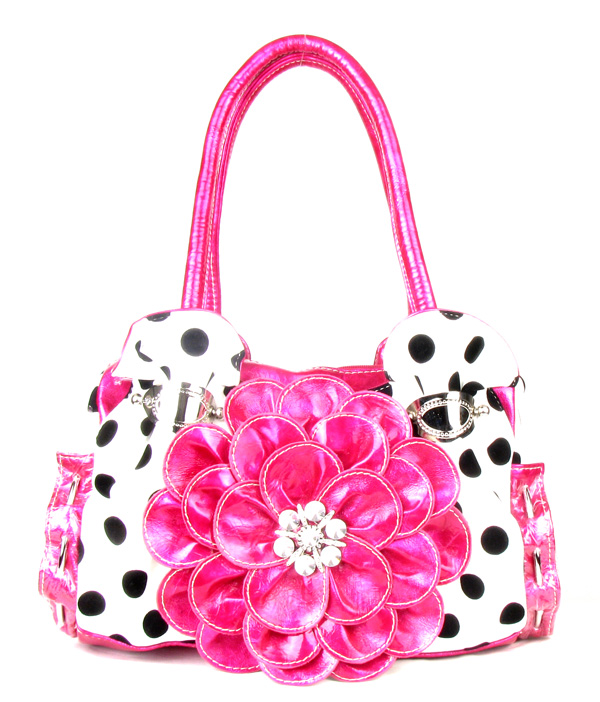 Pink Polka Dot Rhinestone Flower Metal Ring Purse Handbag